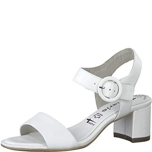 Tamaris Damen Sandalen 28324-24, Frauen Riemchensandale, heiraten Party Sandalette sommerschuh Sommersandale Absatz,White Leather,38 EU / 5 UK