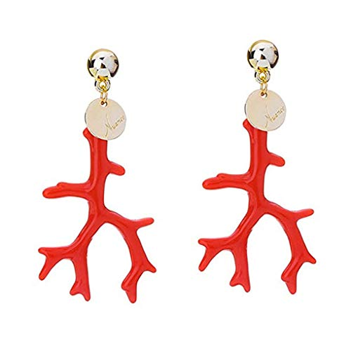 Wiivilik Forma 1 Par Mujeres Resina Coral Anillos de oído del Pendiente de aleación de la Muchacha de la Vendimia de Bohemia Gota del oído del Perno Prisionero