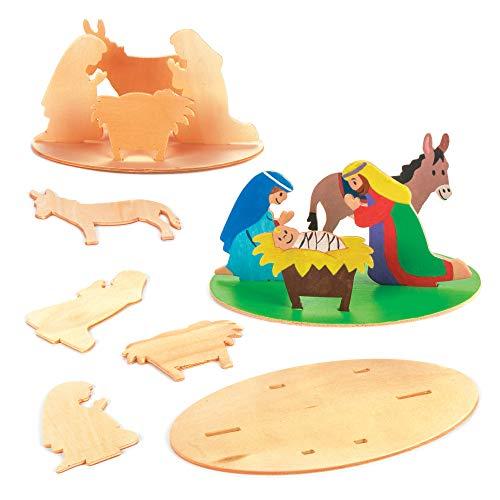 """Baker Ross 3D-Bastelsets""""Weihnachtsgeschichte"""" aus Holz (3er-Pack), perfekt für Kinder zum Zusammenbauen und Dekorieren, ideal für Schulen, Handwerksgruppen, Sonntagsschule, Basteln zu Hause und mehr"""