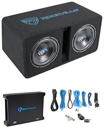 Rockville DK510 Package Dual 10 2400w K5 Car Subwoofer Enclosure+DB12 Amplifier