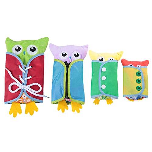 Garosa 4 stücke Baby Toys Eule Dressing lehre Spielzeug lustige Kindergarten lehrbuch Werkzeug plüsch Lernen zu kleiden Puppe frühe pädagogische Geschenk Spielzeug für Kinder Kinder Kleinkinder