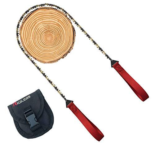 Kaleas Handkettensäge - jetzt mit Verschleißbeschichtung aus Hartgold, 41 Zähne, Werkzeugstahl, verlängerte Halteschlaufen, Premium Survival Baumsäge Astsäge Gartensäge Schnursäge für Camping, Garten, Outdoor, inkl. Gürteltasche (Kaleas 56011)