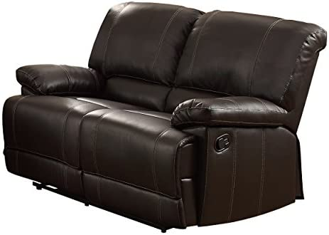 Best Homelegance Cassville Faux Leather Double Reclining Loveseat, Brown
