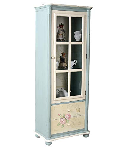 Vintage Vitrine Glasvitrine Vitrinenschrank Rosenmalerei Landhaus frf084 Palazzo Exclusiv