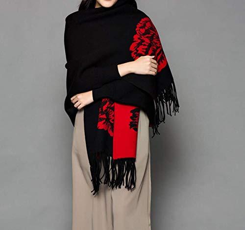 Sportinggoods Ethische stijl jacquard dames herfst en winter Frans sjaal met mouwen sjaal dual use mantel jas zwart en rood