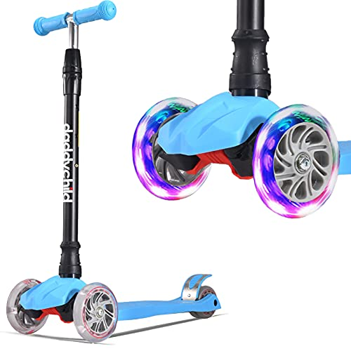 Patinete infantil de tres ruedas con luces LED de poliuretano, altura ajustable y doble rueda trasera grande, para niños y niñas, de 3 a 12 años de edad (azul)