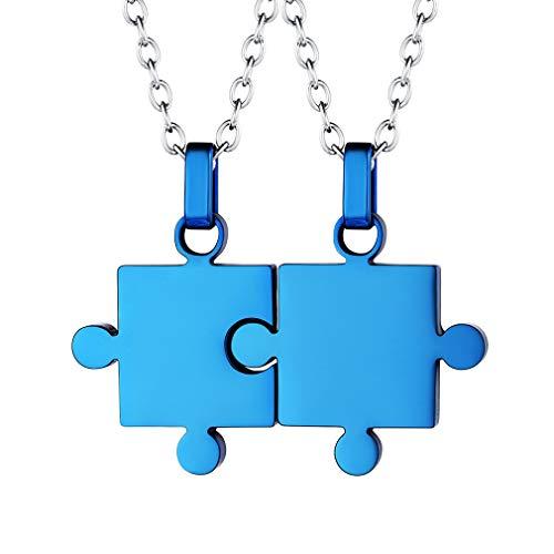 Custom4U Collar de Parejas Rompecapezas Regalo Romántico de Amor para Novias Acero Inoxidable 316L Colgante Azul Dos Piezas para Hombres Mujeres