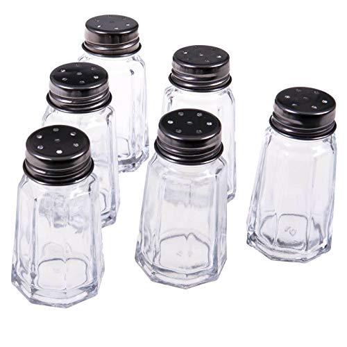 SIDCO Salzstreuer & Pfefferstreuer Glas 6 x Gewürzstreuer Salz Pfeffer Streuer Set