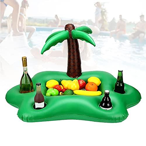 EFGS Inflable Durable Porta Vasos Piscina, Diversión Portavasos Piscina con 4 Beber Agujeros, Bandeja Hinchable Piscina para Verano Playa Lata de Cerveza Botella