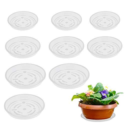 LANMOK 9pcs Runder Blumentopfuntersetzer Transparent Pflanzenuntersetzer aus Kunststoff Blumen Untersetzer für Garten Pflanzkübel Blumekübel Blumentopf Pflanztopf