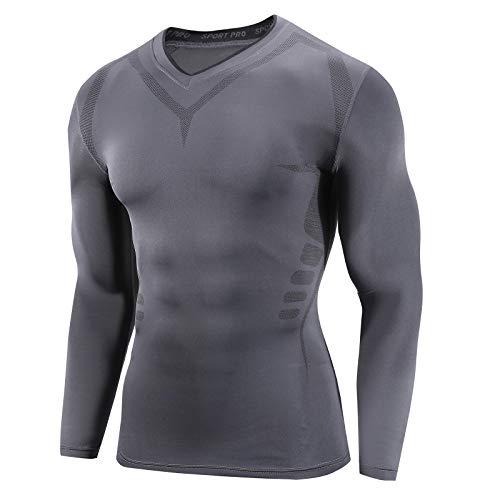 AMZSPORT Camicia a Compressione Sportiva da Uomo Maglia a Manica Lunga Freddo Secco Fitness Base Layer, Grigio Scuro L