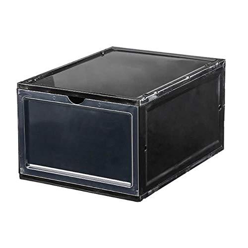 JNML 1PC Schuhe Aufbewahrungsbox Faltbare transparente Deckel Turnschuhe Stapelbare Schublade Stapelkoffer Platzsparend, Schwarz