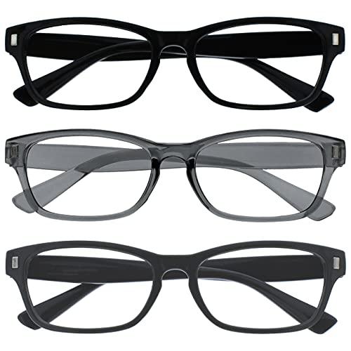 The Reading Glasses Company La Compañía Gafas De Lectura Negro Gris Gris Sólido Lectores Valor Pack 3 Hombres Mujeres RRR77-17G +3,50