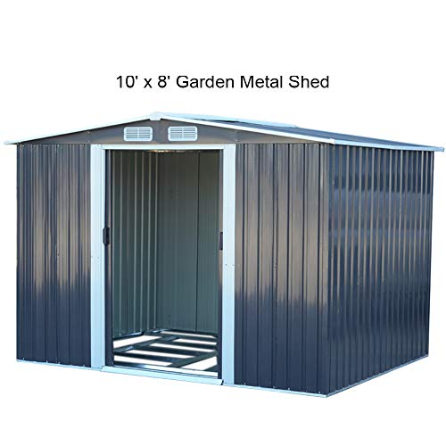 The Fellie Garden Storage Shed 10x8ft Tool Shed 312x257x178cm (LxWxH) Carbon Black Garden Metal House
