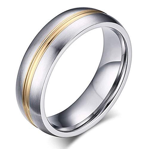 Anillos de titanio de plata esterlina para hombres y mujeres con incrustaciones de oro ranurado