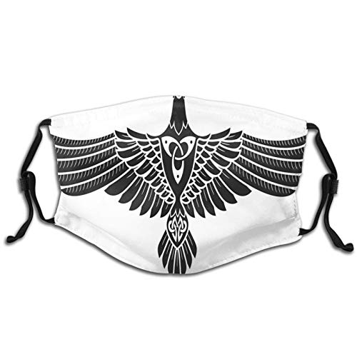 Fillter Face Cloth For mens and womens,Norse Mythology Theme Bird Figure In Celtic Ancient Symbol Monochrome,Cold Mouth Dustproof Double Protection