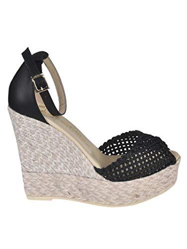 Luxury Fashion | Espadrilles Dames SUSANCORDELANEGRO Zwart Leer Sleehakken | Lente-zomer 20