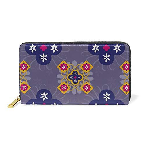 LORONA Marokko Fliesen Traditionelle Marrakesch Leder lange Reißverschluss Clutch Brieftasche Geldbörse für Frauen Reise Clutch Tasche