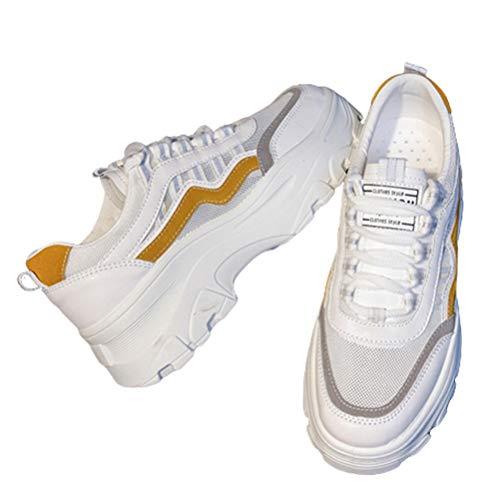 Zapatillas de Deporte Gruesas de Las Mujeres Zapatos atléticos de la Plataforma Gimnasio de Primavera y otoño Zapatos Deportivos Ocasionales Zapatos con Cordones al Aire Libre Deporte cómodas