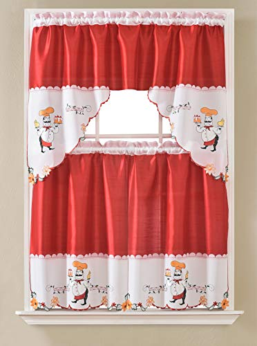 """Gentle Home 3pc Kitchen Curtain and Valance Set/1 Swag Valance and 2 Tiers,2 Tiers Width 30""""x 36"""" Each and The Valance Length 60""""x36"""" (Red Chef)"""