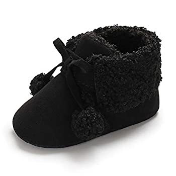 Antheron Baby Boys Girls Plush Snow Boots Soft Sole Anti-Slip Warm Winter Pom Pom Booties Toddler Walking Shoes Black,0-6 Months