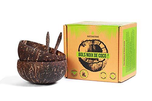 RATCHAPRAO Bols Noix de Coco 100% Naturel, zéro déchet, Cruelty Free - Coconut Bowls à Smoothie, Dessert, Buddha, Poke, Glace - fabriqué à la Main - Lot de 2 Bols + 2 cuillères
