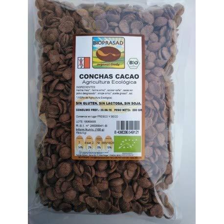 Bioprasad - Conchas Cacao Sin Gluten 200 Gramos - Sin Gluten Sin Lactosa - Procedente De Agricultura Ecológica