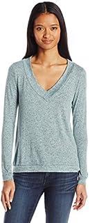 WallFlower Women's Juniors Cozy Brushed Hacci Long Sleeve V-Neck Pullover