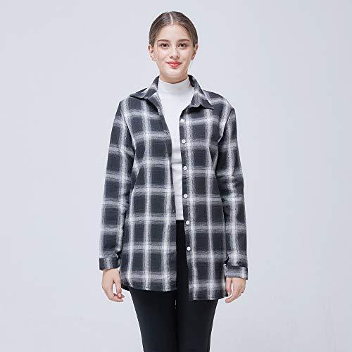 Cnsdy Damesoverhemden Trends Zwart Wit Plaids Lange Stijl Casual Wild Blouse met lange mouwen