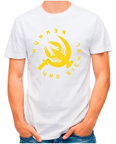 OM3® - Hummer-und-Sichel - T-Shirt   Herren   Luxusleben und Sozialismus Printshirt   Weiß, L