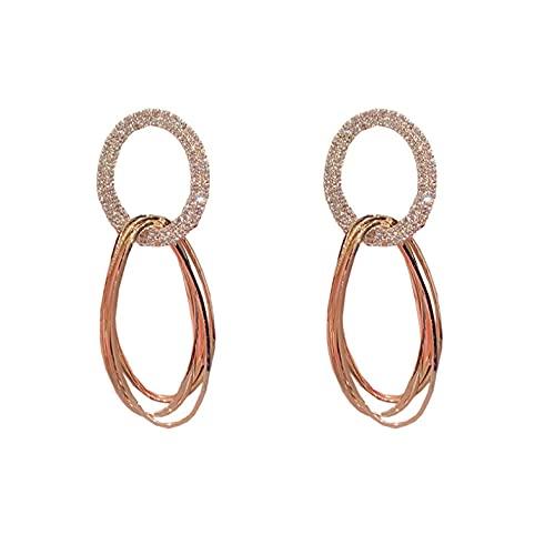 Pendientes geométricos de cristal dorado de moda coreana pendientes de temperamento de aguja de plata para mujer colgante de joyería para mujer