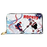 Women's Long Leather Card Holder Purse Zipper Buckle Elegant Clutch Wallet, Two Ice Hockey Players In Cartoon Style On Grunge Abstract Skating Rink Backdrop,Sleek and Slim Travel Purse