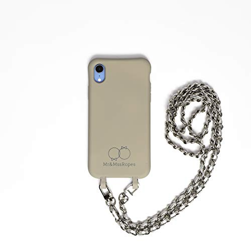 Funda movil colgante para iphone 11 cuerda blanca y gris