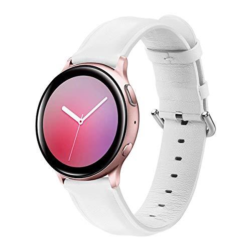 Correa de Piel Compatible con Samsung Galaxy Watch Active 2/Galaxy Watch 42mm/Honor Magic Watch 2 42mm/Huawei Watch GT/GT2 42mm Banda de Cuero Correas de Repuesto para Hombre y Mujer-Blanco