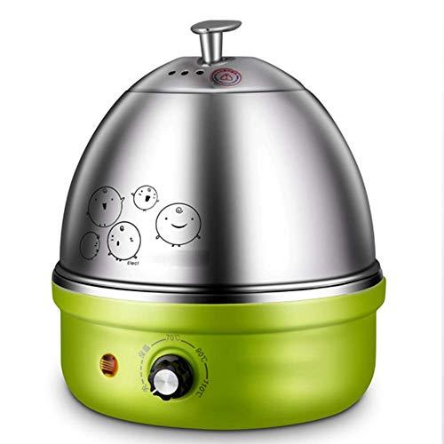 QHAI Eierkocher, Voll-Edelstahl-Elektro-Ei-Kocher mit Auto-Abschaltung bis zu 7 Eiern, für Soft Medium Hard Boiled Pochierte,Grün