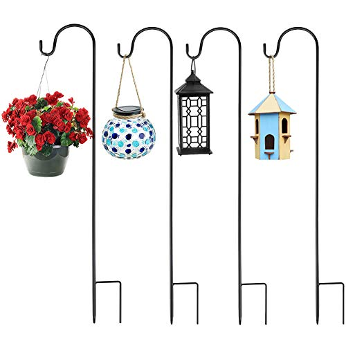 COSANSYS Adjustable Height Shepherd Crook Hooks,Set of 4 Festoon Pole with Base,3 Section Stitching Black Metal Garden Border Hook for String Lights,Flower Ball,Plant Baskets -76 cm/29.64 in