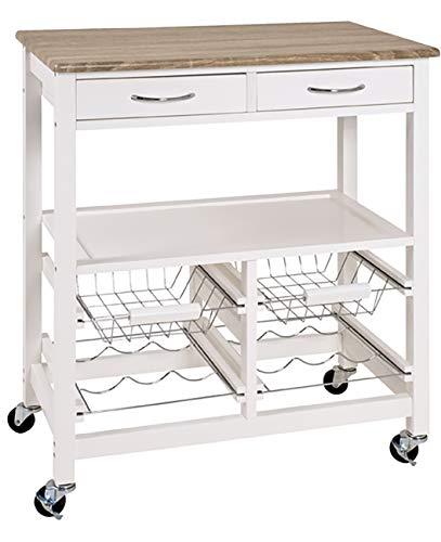 Haku Möbel Küchenwagen - MDF weiß lackiert - 2 Schubladen - 2 Körbe Höhe 84 cm
