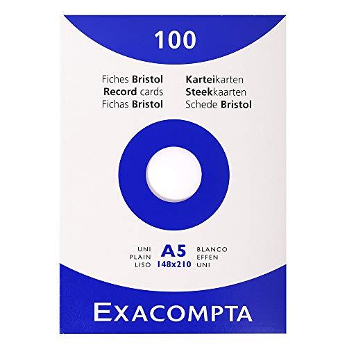 Exacompta 13308E Packung (mit 100 Karteikarten, ungelocht DIN A5, 148 x 210 mm, 205 g, blanko, ideal für die Schule) 1er Pack weiß