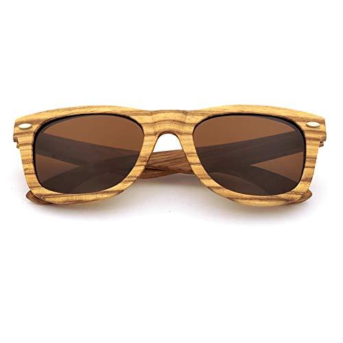XIAOTANBAIHUO Anteojos Gafas de sol de conducción de bambú para hombre, para mujer, polarizadas, gafas de sol de protección UV, protección UV, gafas de seguridad (Color : Marrón)
