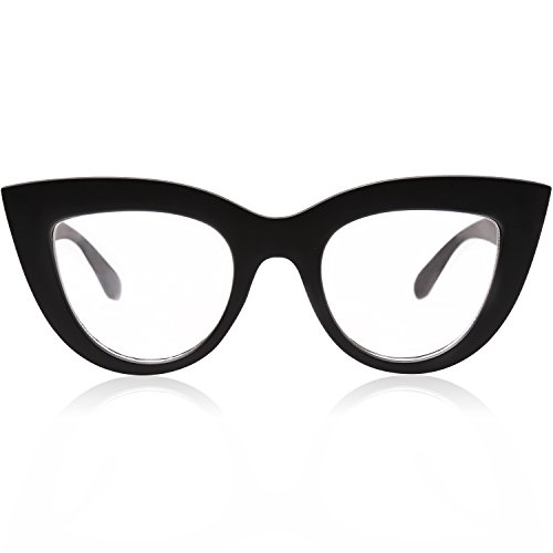 SOJOS Vintage Cateye Blue Light Blocking Glasses for Women Computer Eyeglasses SJ2939 with Black Frame/Anti-Blue Light Lens