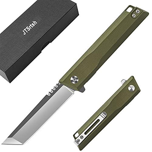 Couteau Pliant,Couteaux de Survie, Lame Acier Inoxydable,Manche texturé G10,Couteau de Chasse en Plein,Camping ou Couteau à Fruits Usage Domestique (Vert)