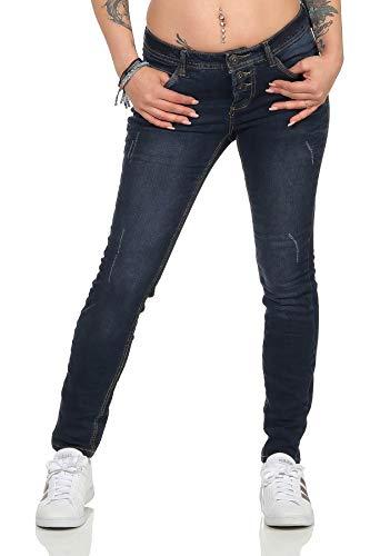 Sublevel Damen Skinny Jeanshose Röhrenjeans Stretch Jegging Damenhose 20 (M, Dark Blue)