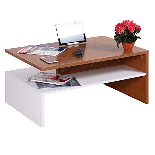 RICOO WM080-W-ER Tavolino da salotto 90x42x60cm Tavolo soggiorno basso Design moderno rettangolare Mobile divano Legno bianco rovere marrone