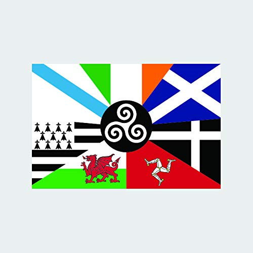 fagraphix Pan-Celtic Flag Sticker Decal Self Adhesive Decal pan Celtic Inter-Celtic Flag six Celtic Nations 6.00' Wide