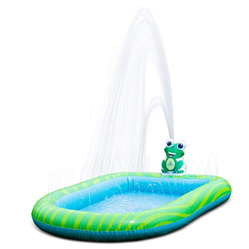 Splashin'kids 3 in 1 Inflatable Sprinkler Pool Kiddie Pool Kids Pool Toddlers Wading Swimming Outdoor Play Mat Splash Pad 9 Months and up Boys Girls Large (Small and Large Size)