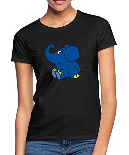 Spreadshirt Die Sendung Mit Der Maus Elefant Sitzend Frauen T-Shirt, XXL, Schwarz