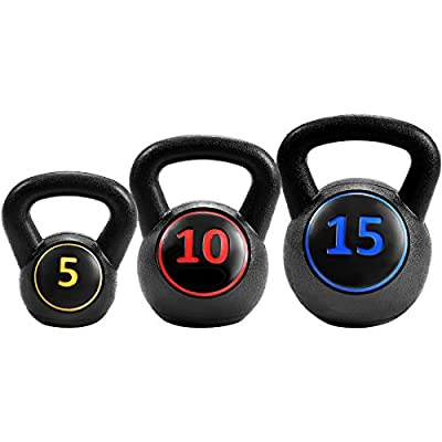 GYMAX Kettlebells, 3 Pcs Vinyl Kettlebell Weights Set Weights 5, 10, 15 lbs Set, for Strength and Conditioning, Fitness by Gymax