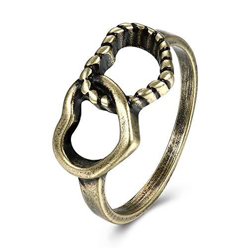 Duimpring Paar Pop Bal Zink Legering Hartvormige Platte Ring Vintage Ring Mode Trend Ring Creatieve Paar Ring