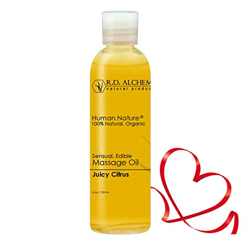 100% Natural & Organic Edible Massage Oil for Body. Best Massage Supply with Organic Essential Oils. Erotic Flavor: Juicy Citrus - Tangerine and Orange Oils