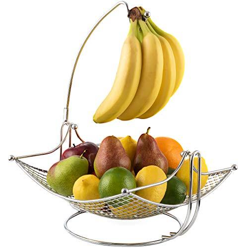 Dinette Decor Fruit Bowl with Banana holder, Fruit Basket with Detachable Banana Hanger Black, Chrome or Bronze Color options. Best gift, for the entire family (chrome)